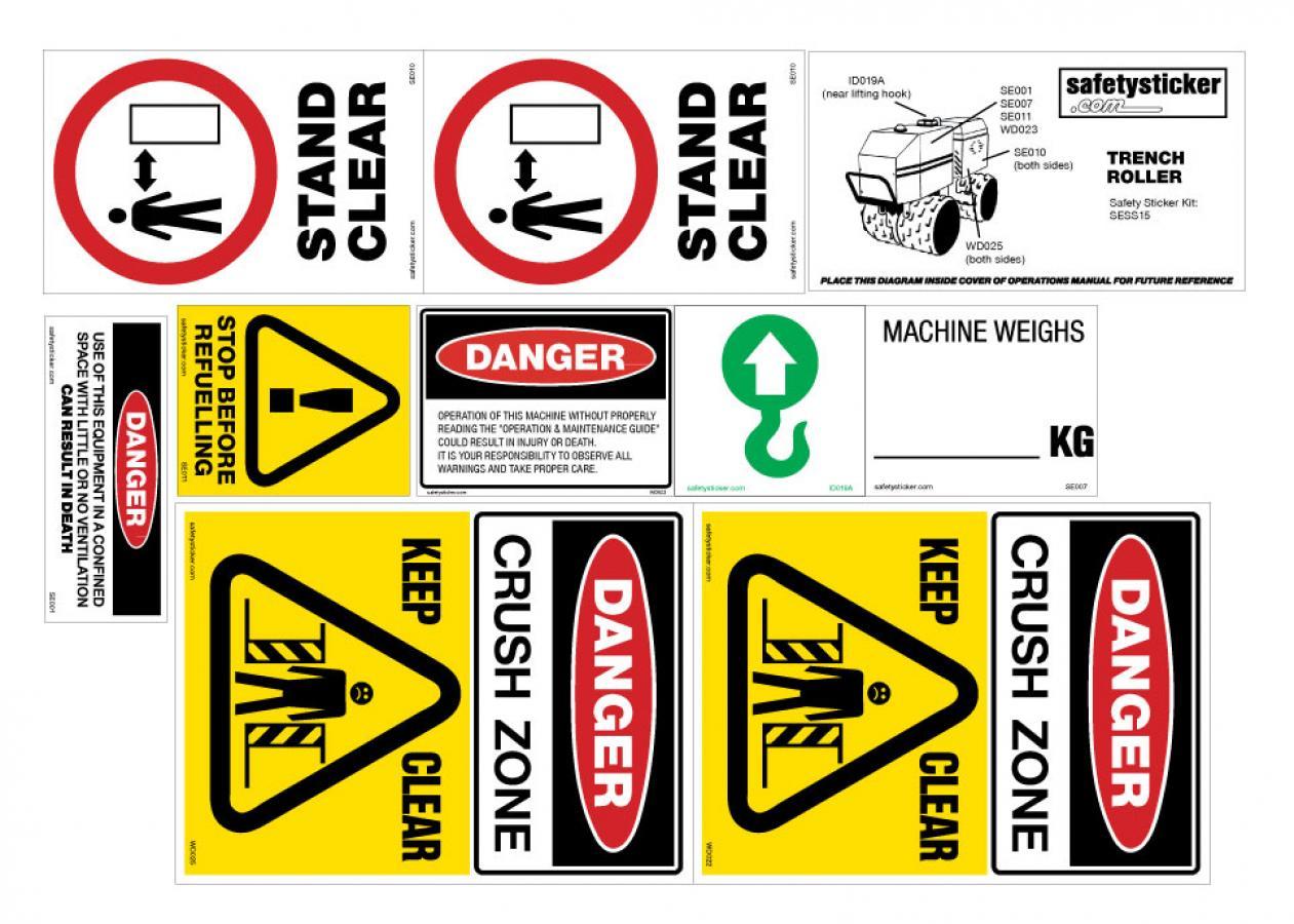 Trench Roller Safety Sticker Kit Safety Sticker