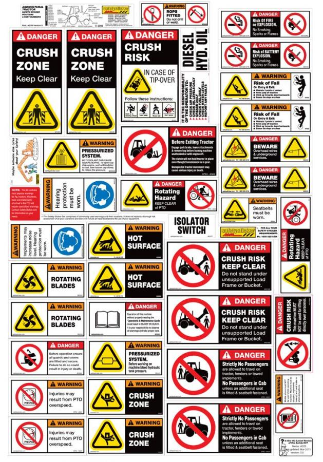 Agricultural Tractor Safety Stickers Safety Decals