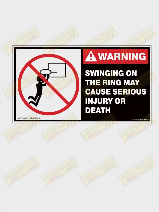Basketball Hoop Warning Safety Stickers Safety Decals