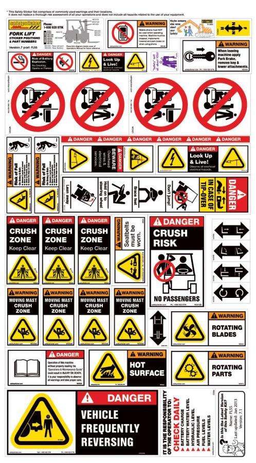 Fork Lift Labels : Forklift safety sheet sticker