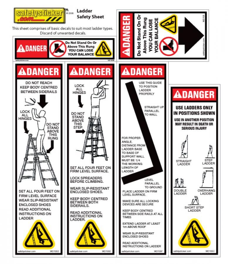 Paypal 1800 Number >> Ladder safety sheet | Safety Stickers | Safety Decals