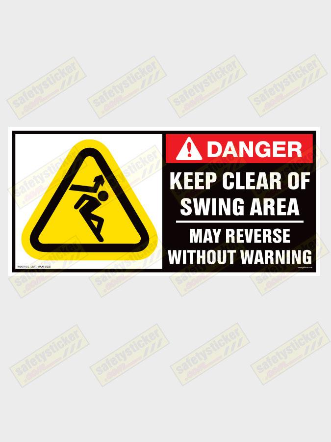 Keep Clear Of Swinging Door : Wd c warning keep clear of swing area extra large