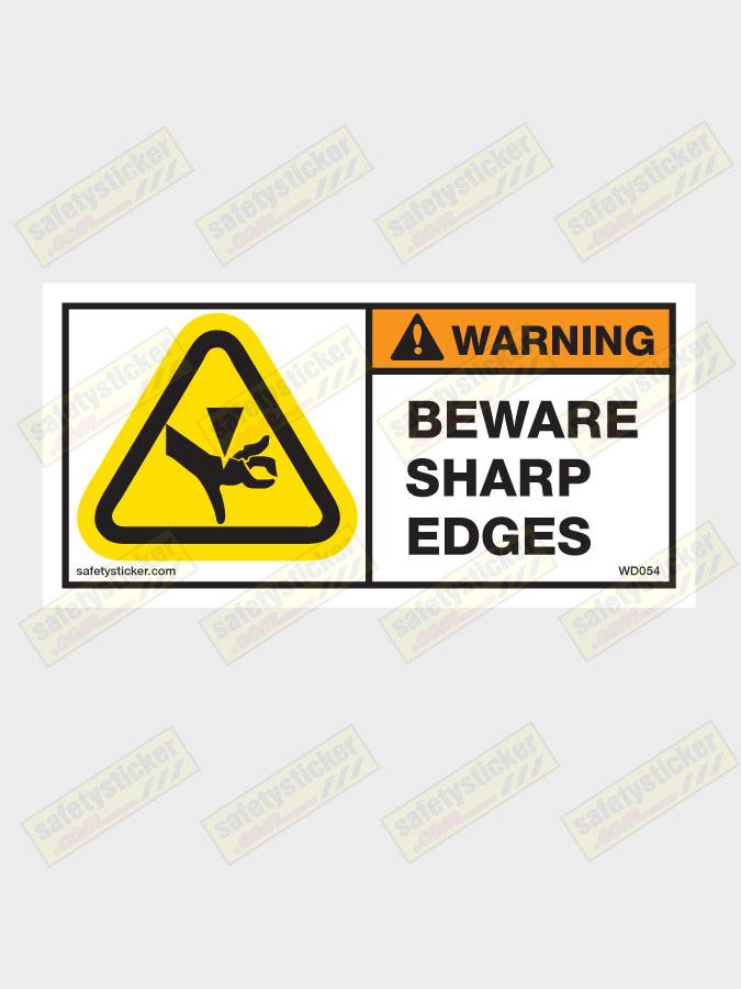warning sharp edges decal safety stickers safety decals. Black Bedroom Furniture Sets. Home Design Ideas