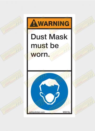 Dust mask warning sticker