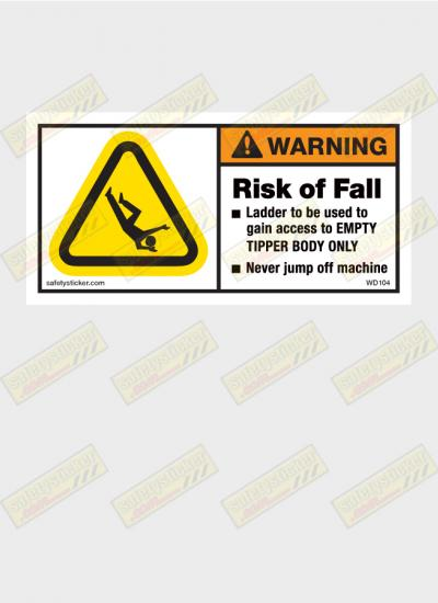 Risk of fall warning sticker