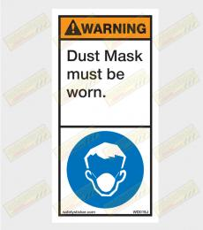 Dust mask warning sticker
