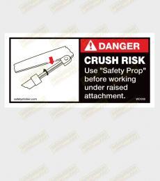 safety prop warning sticker