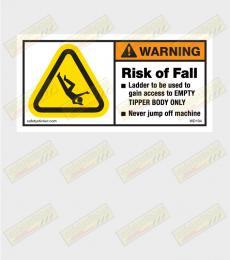 Risk of fall warning sticker